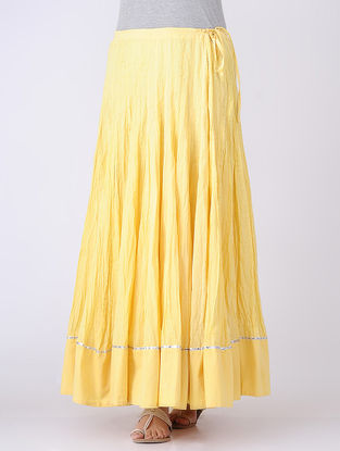 Yellow Panelled Tie-up Cotton Voile Skirt with Gota Embroidery
