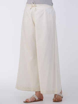 Ivory Tie-up Elasticated Waist Embroidered Cambric Palazzos