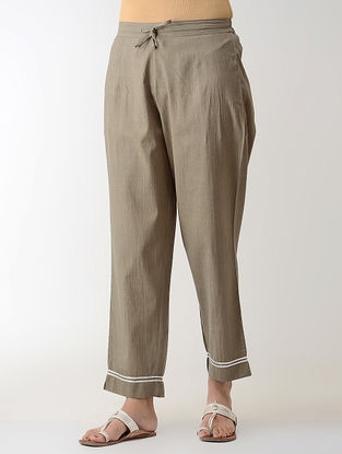 Grey Gotta Embroidered Tie-up Elasticated Waist Cambric Pants