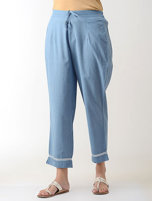 Blue Gotta Embroidered Tie-up Elasticated Waist Cambric Pants