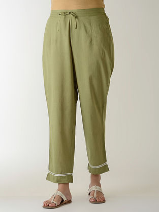 Green Gotta Embroidered Tie-up Elasticated Waist Cambric Pants