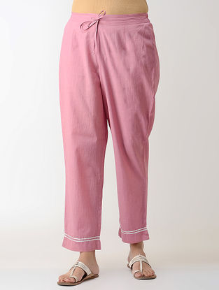 Pink Gotta Embroidered Tie-up Elasticated Waist Cambric Pants