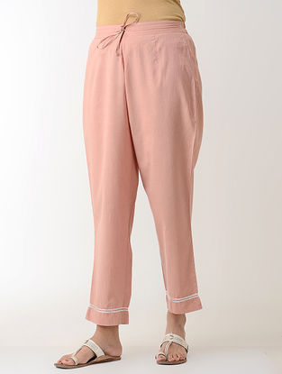 Peach Gotta Embroidered Tie-up Elasticated Waist Cambric Pants