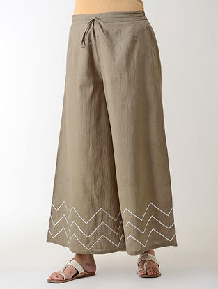 Grey Gotta Embroidered Tie-up Elasticated Waist Cambric Palazzos
