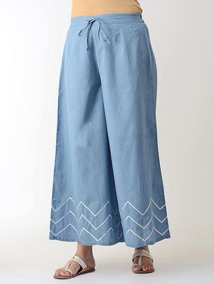 Blue Gotta Embroidered Tie-up Elasticated Waist Cambric Palazzos