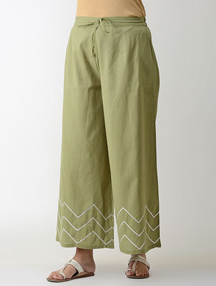 Green Gotta Embroidered Tie-up Elasticated Waist Cambric Palazzos