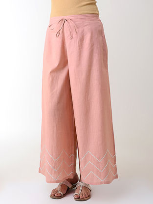 Peach Gotta Embroidered Tie-up Elasticated Waist Cambric Palazzos