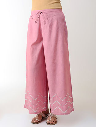 Pink Gotta Embroidered Tie-up Elasticated Waist Cambric Palazzos