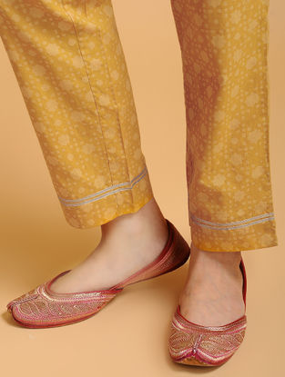 Yellow Tie-up Elasticated Waist Cambric Pants with Gota work