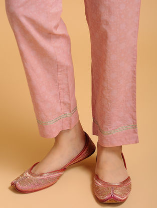 Pink Tie-up Elasticated Waist Cambric Pants with Gota work