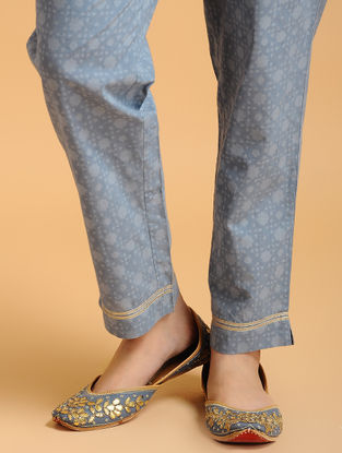 Blue Tie-up Elasticated Waist Cambric Pants with Gota work