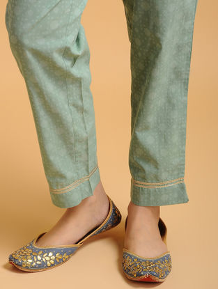 Teal Tie-up Elasticated Waist Cambric Pants with Gota work