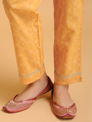 Orange Tie-up Elasticated Waist Cambric Pants with Gota work