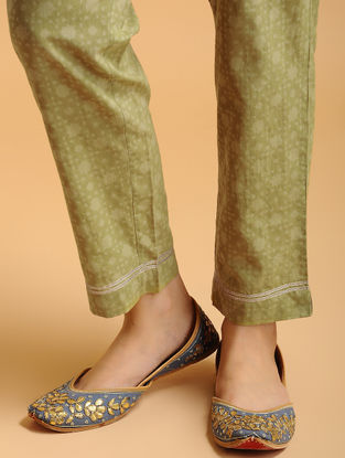 Olive Tie-up Elasticated Waist Cambric Pants with Gota work