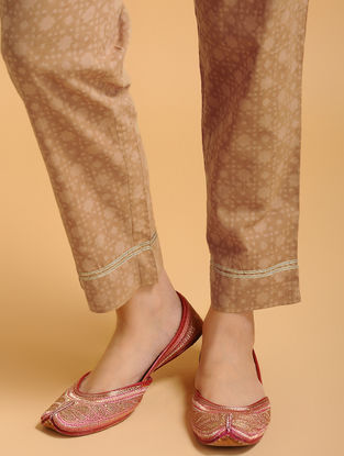 Brown Tie-up Elasticated Waist Cambric Pants with Gota work