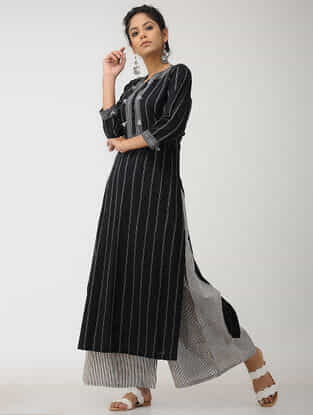 Black-Grey Quilted Cotton Kurta with Embroidery