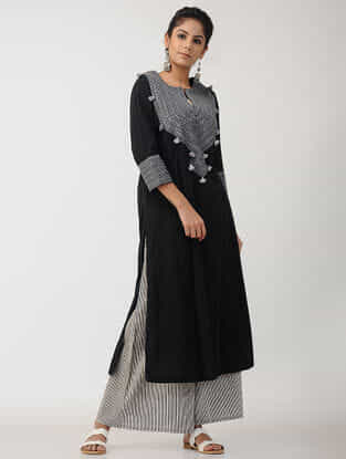 Black-Grey Cotton Kalidar Kurta with Embroidery