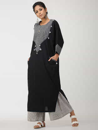 Black-Grey Cotton Kaftan with Embroidery