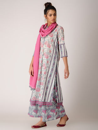 Pink-White Paneled Block-printed Cotton Kurta