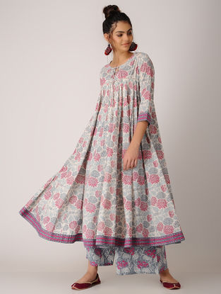 Pink-White Block-printed Cotton Anarkali Kurta