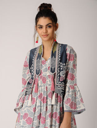 Blue Embroidered Chanderi Jacket