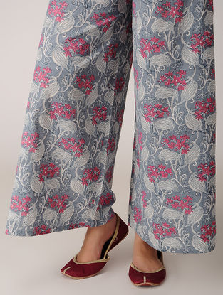 Pink-Grey Block-printed Tie-up Elasticated Waist Cotton Palazzos