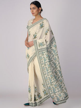 Ivory-Green Block-printed Organic Cotton Saree with Petticoat (Set of 2)