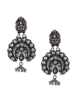 Pink-Green Tribal Silver Jhumkis with Deity Motif