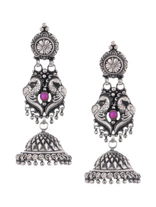 Pink Tribal Silver Jhumkis with Peacock Design