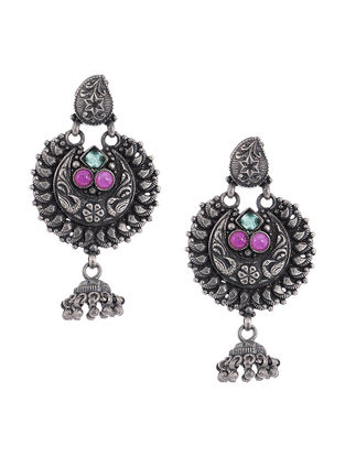 Pink-Green Tribal Silver Jhumkis with Floral Motif