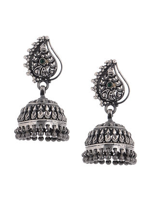 Green Tribal Silver Jhumkis