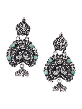 Green Tribal Silver Earrings with Floral Motif