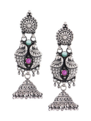 Pink-Green Tribal Silver Jhumkis with Peacock Design