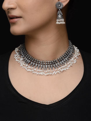 Tribal Silver Pearl Necklace with a Pair of Jhumkis (Set of 2)