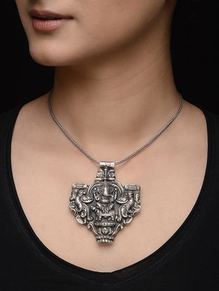 Tribal Silver Pendant with Lord Ganesha Motif