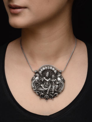 Tribal Silver Pendant with Deity Motif
