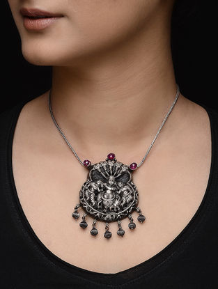 Pink Tribal Silver Pendant with Deity Motif