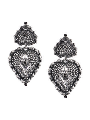 Black Tribal Silver Earrings