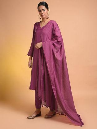 Pink Silk Cotton Dupatta with Tassels