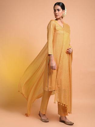 Ochre Handloom Silk Cotton Dupatta with Tassels