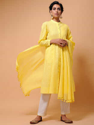 Yellow Cotton Dupatta with Tassels