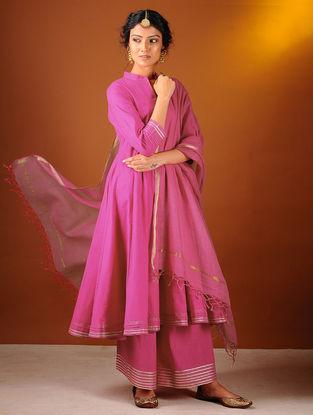 Pink Cotton Dupatta with Zari