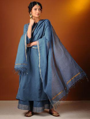 Blue Cotton Dupatta with Zari