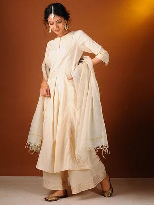 Ivory Cotton Dupatta with Zari