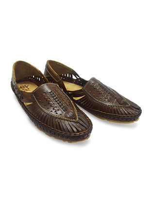 Brown Vegetable Tanned Leather Shoes for Men