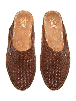 Brown Vegetable Tanned Leather Mules for Men