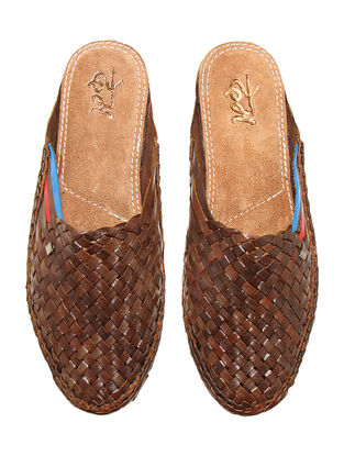Brown Vegetable Tanned Leather Mules for Men with Red-Blue Stripes