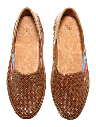 Brown Vegetable Tanned Leather Shoes for Women with Red-Blue Stripes