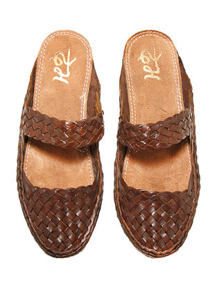 Brown Vegetable Tanned Leather Flats for Women