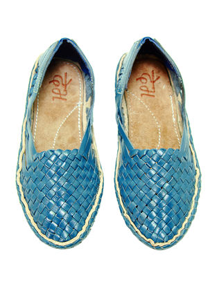 Blue Leather Shoes for Women